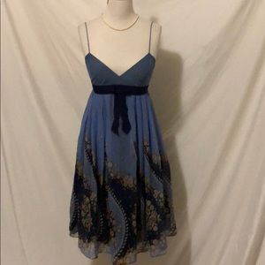 Anna Sui for Anthropologie Blue silk dress size 4